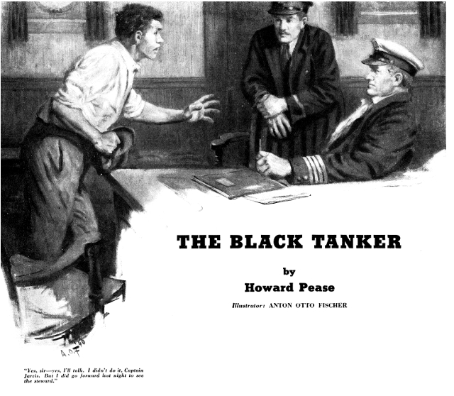 American Boy Magazine, February 1941, Cover of The Black Tanker, Howard Pease